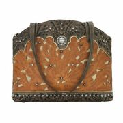 American West Leather Tote- Multi Compartment Carry On Bag Key Foab Purse Charm