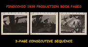 Walt Disneyand039s ☆ Pinocchio ☆1939 Production Used Consecutive 3-page Book Sequence