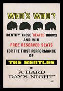 The Beatles A Hard Dayand039s Night ☆ Uk Advance Movie Poster ☆ Reserved Seat Contest