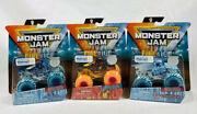 """Monster Jam Fire And Ice Lot Of 3 """"w"""" Northern Nightmare Dragonoid New In Package"""