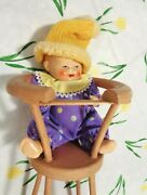Antique All Bisque Baby Doll In Wooden High Chair German Clown Jester
