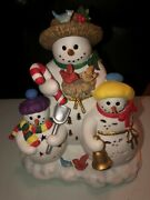 Retired Partylite Snowbell Tealight Candle Holder P7702 Snowman And Snow Children
