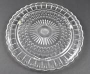 Vintage Federal Glass Co Footed Cake Plate Clear Dots Panels Sunburst 11 3/8 O5