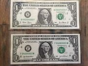 2003a-2001-1 Dollar 2 Digits Fancy Serial Number Uncirculated Gem 2 Notes