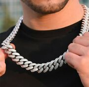 Men's 14mm Thick Miami Cuban Link 30 Long Necklace In 14k White Gold Plated
