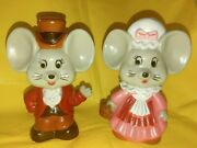 Set Of 2 Vintage Happy Couple Mice Mouse Coin Banks Hard Plastic Hong Kong