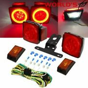 Rear Led Submersible Trailer Tail Lights Kit Boat Marker Truck Waterproof Round