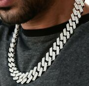 Men's 19 Mm X 20 Inch Long Prong Link Necklace Over 14k White Gold Plated Silver