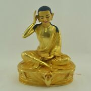 Hand Carved 24k Gold Gilded Face Painted Milarepa Copper Statue From Patan Nepal