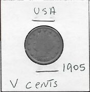 Usa V Cents 1905 With Centsliberty Head Leftwithin Circle Of Starsdate Below