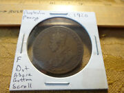 1920 Australia Copper Penny 1c Coin Dot Above Lower Scroll - Free Sandh Usa