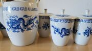 Vintage Great China Dragon Tea Set, Teapot 1 Teacup With Lids 6 Made In Taiwan