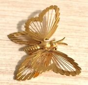 Estate Monet Signed Goldtone Open Wire Butterfly Pin