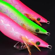 3x Nakatomi Squid Jig Body Glow Silver Violet And Red X Rattle Egi Fishing Lures