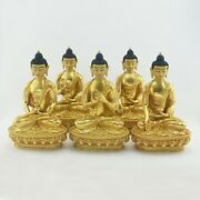 24 K Gold Detailed Hand Carved Dhyani Buddha Or Pancha Buddha Copper Statues Set