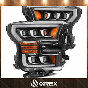For 17-20 Ford F150 Raptor Chrome Nova Projector Headlights W/ Sequential Signal