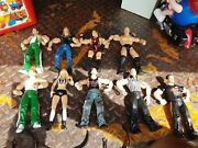 Lot Of 9 Wwe Wwf Wrestling Figures And 4 Title Belts Awsome Lot See
