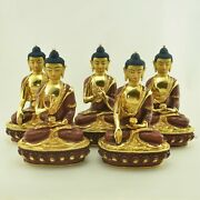 24 K Gold Gilded Hand Carved Dhyani Buddha Copper Statues Set From Patan Nepal