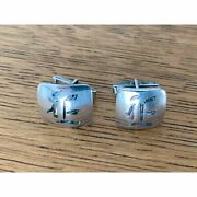 Vtg Sterling Silver Taxco Rancho Alegre Inlaid Abalone Initial E Cufflinks
