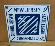 Porcelain Sign New Jersey Master Plumbers Organized Health Antique Vintage Nos