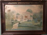 Antique Vintage Illinois Springfield Watches Company Ad Sign Metal Tin Litho