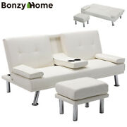 Air Leather Sofa Bed Convertible Folding Sofa Futon Recliner Couch With Stool