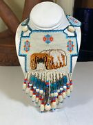 Pekingese Dog Turquoise Coral And White Seed Bead Statement Necklace 22