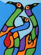 Norval Morrisseau Original Serigraph Signed Numbered Composition With Loons 1979
