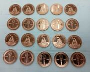 Lot Of 20 Don't Tread On Me Snake Rear 1oz .999 Copper Round Coins K020