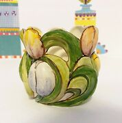 Vintage Delft Tulip Planter Majolica Hand Painted Holland Gorgeous