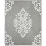 Mohawk Gray Rings Curves Outdoor Contemporary Area Rug Medallion 91031 2035