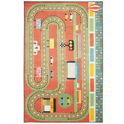 Mohawk Red Dots Cars Road Rectangles Contemporary Area Rug Pictorial Z0332 A416
