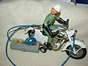 Estate Tin Toy By Bandi-japan Pat. Pending Battery Operated Motorcycle Police