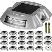 Driveway Lights Solar Dock Lights 24-pack, Led Pathway Lights W/ Switch In White