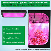 2000w Led Grow Light Kit Full Spectrum + 4and039x4and039 Hydroponic Grow Tent Indoor Room