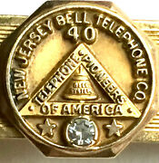 Vintage Nj Bell Telephone Co. 40 Yr Service Award Diamond And 12k Gold Fill Clip