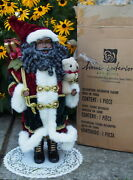 """Htf Home Interiors African American Christmas Santa Figure Stands 22"""" Tall + Box"""