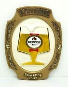 Rare Vintage 1974 Drewrys Beer Plastic Sign 14.5 X 20 Welcome Sparkling Pure