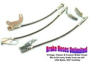 Stainless Brake Hose Set Ford Country Sedan 1969 Late - Front Drum
