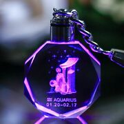 Laser Engraved Zodiac Crystal Keychain Glass Hanging Decoration Souvenirs Gifts