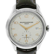 Baume And Mercier Stainless Steel Leather Band Skeleton Back Watch