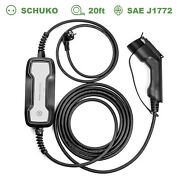 Portable Ev Charger Level2 Home Charging Box 10a/16amp J1772 Type 1 Evse Schuko