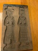 Old Primitive Antique Wooden Butter Mold Print Butter Cookie Biscuit 9 X 6