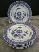 Bawm Bros Blue Rose Collection 6 Salad Plates 7 5/8 Wide Roses And Butterflies
