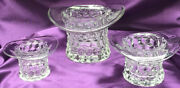 3 Vint.clear Uranium Glass Top Hat Toppers By Fostoria 2 1/2 In 3 In 4 Inrare