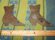 Antique Victorian Metal High Button Shoe Advertising Signs Silhouettes