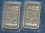 Johnson Matthey 1 Oz Silver Bar Sealed Gem Bu Lot Of 2 Consecutive S B8331