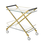 Bermuda Gold Bar Cart Gold Stainless Steel And Glass Casters Gy-crt-7919g New