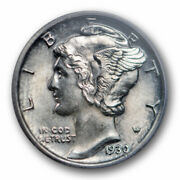 1930 10c Mercury Dime Icg Ms 64 Fb Uncirculated Full Bands Toned Better Date ...