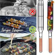 2pcs Easy Grill Kebab Barbecue Baskets Non-stick Coated Steel Outdoor Accessory